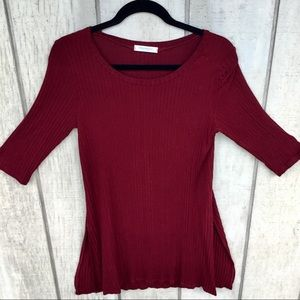Promesa Burgundy Tunic 3/4 sleeved top